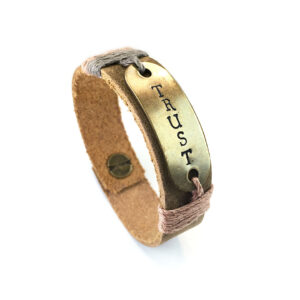 Inspirational leather bracelet trust